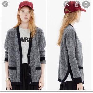 Madewell contrast wool grey/black cardigan size m